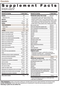 Chocolate Shakeology Nutrition Label